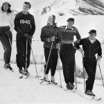 Igrid Bergman, Gary Cooper and Clark Gable skiing in Sun Valley